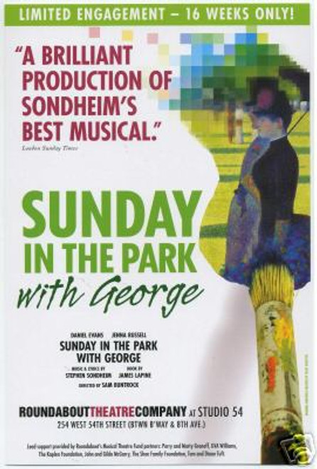 Sunday in the Park with George (Musical), Daniel Evans, Jennna Russell, Michael Cumpsty (2008), Poster / Window Card