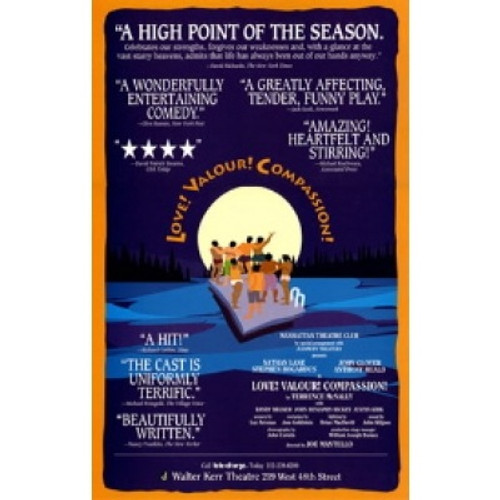Love! Valour! Compassion!, play by Terrence McNally. Its off-Broadway premiere took place at the Manhattan Theatre Club, poster