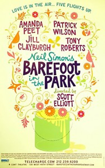 Barefoot in the Park (Play), Amanda Peet, Patrick Wilson, Jill Clayburgh, Tony Roberts (2006) – Cort Theatre, Poster / Window Card