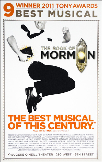 """The Book of Mormon (Musical) OBC , Andrew Rannells, Josh Gad, Nikki M James, Rory O'Mally - Eugene O'Neill Theatre, """"Tony's Winner"""", Poster / Window Card"""