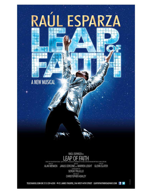 Leap of Faith (Musical), Raul Esparza, Jessica Phillips, Kendra Kassebaum, Kecia Lewis-Evans – 2012 Broadway Production, Poster / Window Card