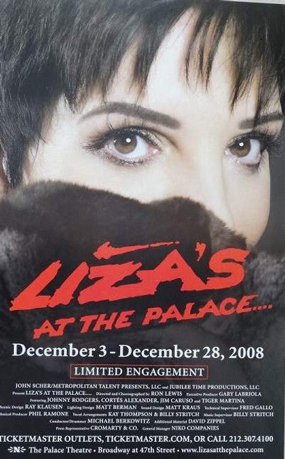 Liza's at The Palace, Palace Theatre - Run: December 3, 2008 through January 4, 2009, Window Card Poster