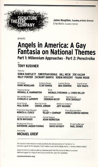Angels in America (Play), Zachary Quinto, Robin Bartlett, Christian Borle, Bill Heck – Jan 2011, Revival Off Broadway Production