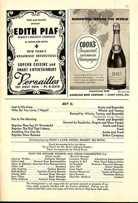 Annie Get Your Gun (Musical), Ethel Merman, Ray Middleton, Fred Rivett, Art Barnett, Betty Lou Holland - 1948 Broadway Production