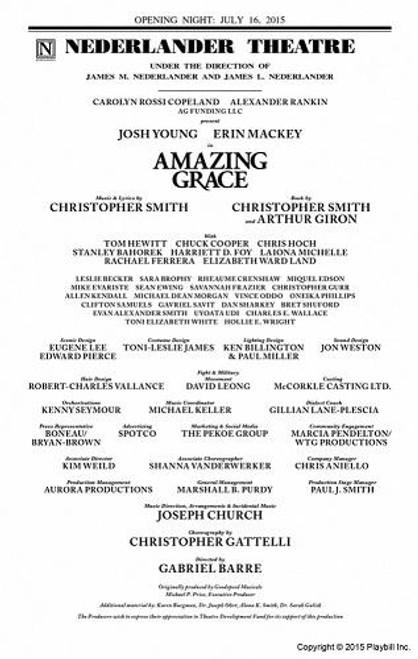 Amazing Grace -July 2015, Directed by Gabriel Barre, Josh Young - Erin Mackey Playbill