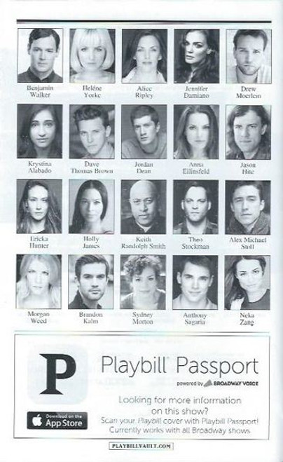 American Psycho - March 2016, Directed by Rupert Goold, Benjamin Walker - Jennifer Damiano - Alice Ripley, playbills and programs, playbills