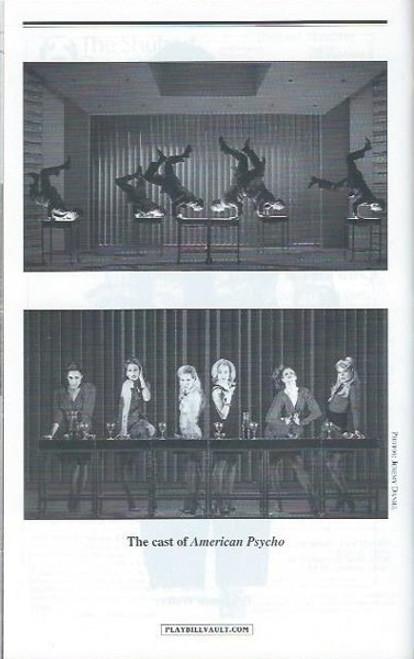 American Psycho -April 2016, Directed by Rupert Goold, Benjamin Walker - Jennifer Damiano - Alice Ripley, playbill, programs, American psycho playbill