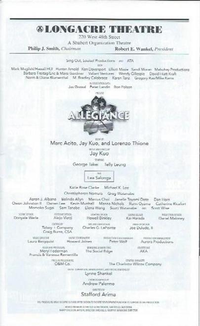 AllegianceJan 2016, George Takei, Lea Salonga, Telly Leung, Longacre Theatre, Allegiance playbill, Allegiance programs and playbills