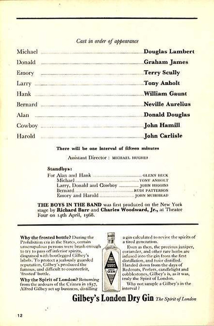 The Boys in the Band (Play), Douglas Lambert, Graham James, Terry Scully, Tony Anholt, Wyndham's Theatre London, Boys in the Band Memorabilia, Playbills, Theatre programs