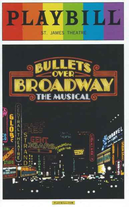 Bullets Over Broadway,  June 2014, Pride Edition playbills, Zach Braff, Nick Cordero, Brooks Ashmanskas, Marin Mazzie, bullets over broadway playbill