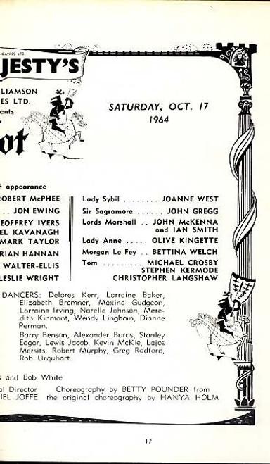 Camelot, Musical, Paul Daneman, Robert McPhee, Desmond Walter-Ellis, - 1964 Australian Tour Her Majesty's Theatre Sydney