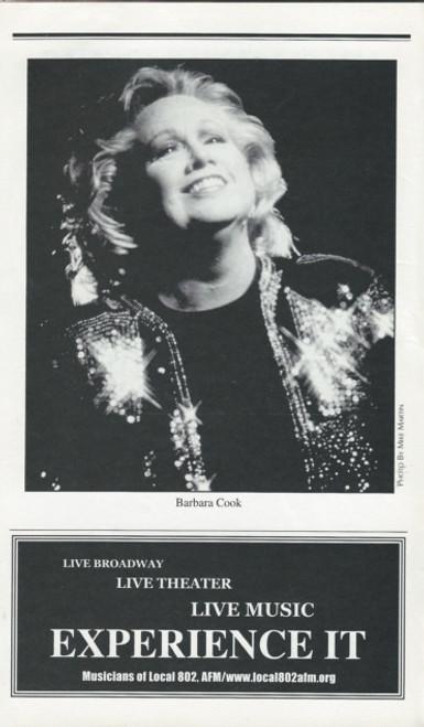 "Barbara Cook ""Mostly Sondheim"" (June 2002), Lincoln Center Theatre Playbill / Program"