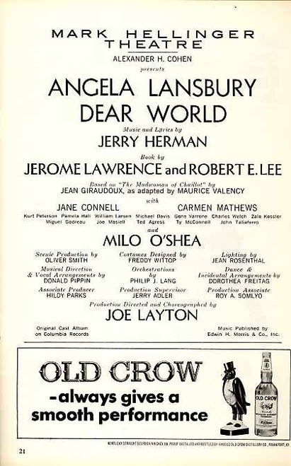 Dear World (Musical), Angela Lansbury, Jane Connell, Carmen Mathews - Dated January 1969 Issue 1 Broadway, Dear World Memorabilia