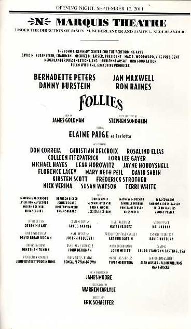 Follies (Musical), Bernadette Peters, Jan Maxwell, Danny Burstein, Ron Raines, Elaine Paige Sept2011 Revivial on Broadway