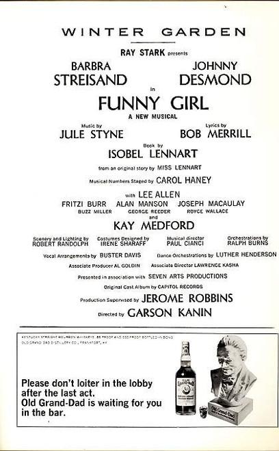 Funny Girl (Musical), Barbra Streisand, Johnny Desmond, Lee Allen, Fritzi Burr, Alan Manson - 1965 Broadway Production