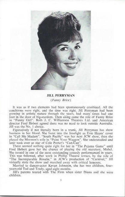 Funny Girl (Musical) Jill Perryman, Evie Hayes, Bruce Barry, Bill Yule, Australian Production Melbourne Season August 1966