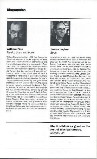 Falsettos (Musical), John O'May, Simon Burke, Michael Smith, Michael Hamilton, Playbill / Program 1994 Sydney Australia