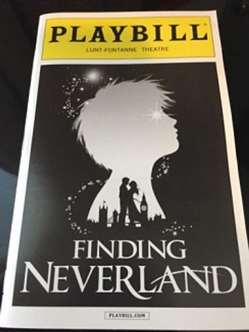 Finding Neverland Playbill, Lunt Fontanne Theatre NYC Sept 2015, Matthew Morrison, Anthony Warlow, Laura Michelle Kelly, Carolee Carmello, Teal Wicks, Alex Dreier, Aidan Gemme, Jackson Demott Hill, Noah Hunsdale, Sawyer Nunes, Christopher Paul Richards, Hayden Signoretti