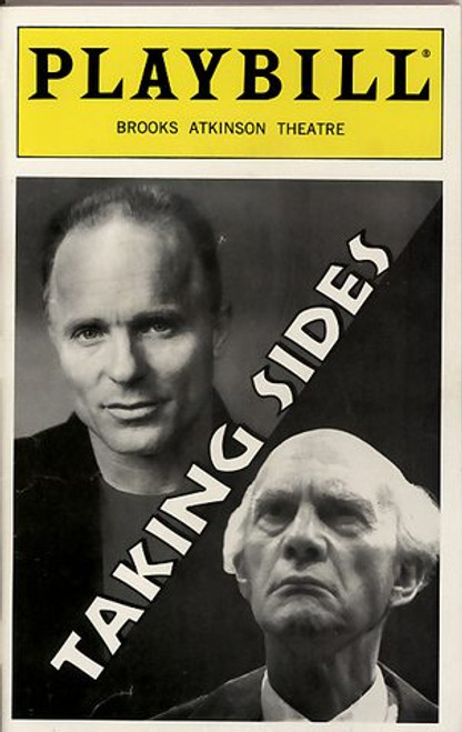 Taking Sides is a 1995 play by British playwright Ronald Harwood, about the post-War U.S. denazification investigation of the German conductor and composer Wilhelm Furtwängler on charges of having served the Nazi regime