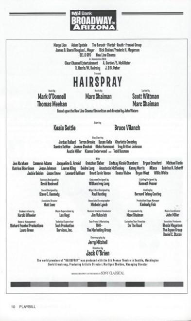 Hairspray (Musical), Keala Settle,Bruce Vilanch,Jordon Ballard,Terron Brroks,Todd Susman, Broadway in Arizona Playbill, Hairspray Program, Date Apr 2004