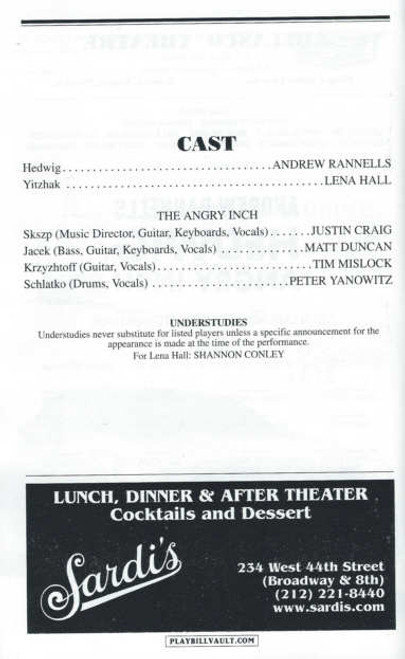 Hedwig and the Angry inch (Sept 2014), Andrew Rannells, Lena Hall, Justin Craig, Matt Duncan, Tim Mislock, Peter Yanowitz, Shannon Conley, Hedwig Playbill, Hedwig Program