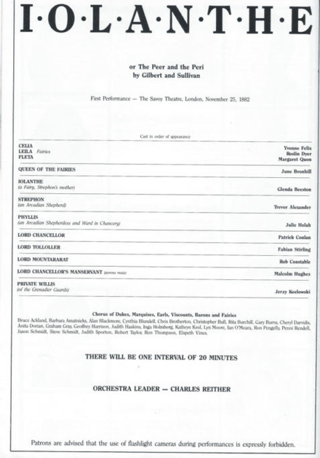 Iolanthe (Opera) Gilbert and Sullivan - Melbourne Music Theatre, Souvenir Brochure 1986 June Bronhill, Julie Holah, Glenda Beeston, Trevor Alexander
