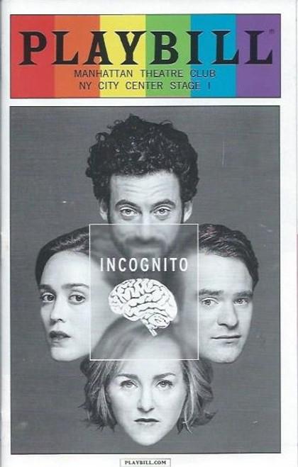 Incognito, by Nick Payne, Manhattan Theatre Club, Pride PlaybillJune 2016 Broadway, Geneva Carr,Charlie Cox,Heather Lind, Morgan Spector
