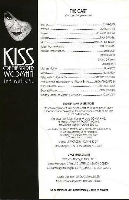 Kiss of the Spider Woman (Musical) , Bebe Neuwirth, Jeff Hyslop, Charles Pistone, Clarke Peters - 1992 London Production
