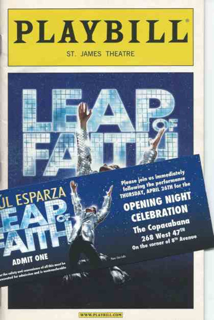 Leap of Faith, Playbill April 26, 2012 Opening Night includes Opening Night Party Invitation, Raul Esparza, Jessica Phillips, Kendra Kassebaum, Kecia Lewis-Evans