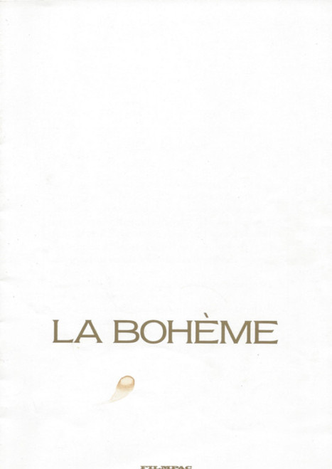 La Boheme (Opera) Filmpac 1988 Movie, Souvenir Program - Barbara Hendricks, Jose Carreras, Luca Canonici, Movie Programs