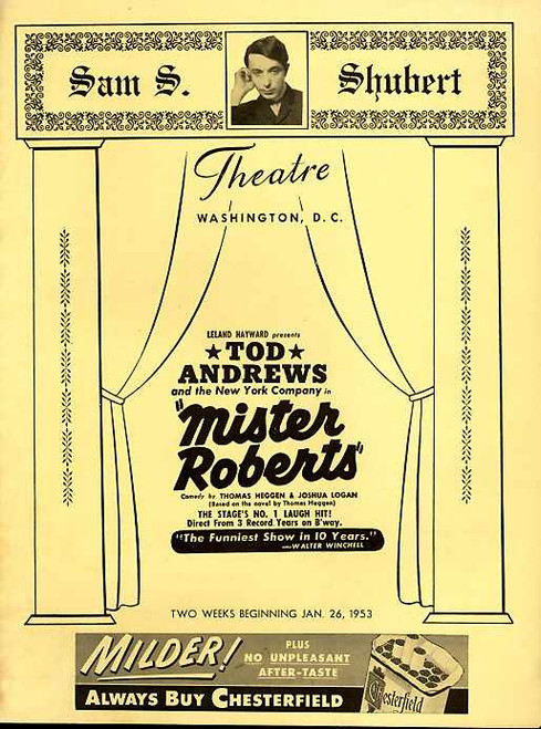 Mister Roberts (Play), Tod Andrews, Tony Del Gatto, Robert H Fuller, Wes Carpenter - Shubert Theatre Washington DC Jan 26 1953
