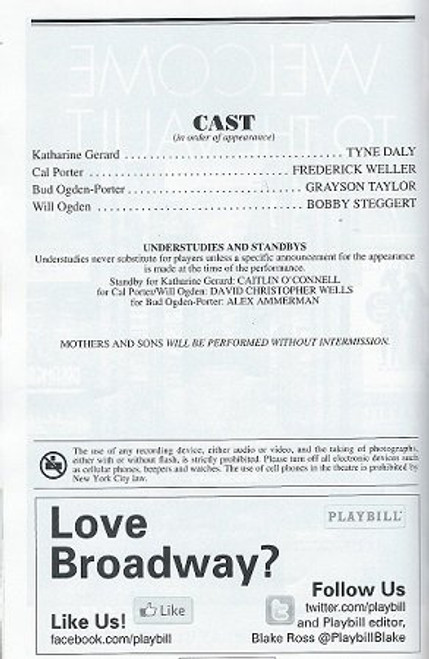 Mothers and Sons, April 2014, Tyne Daly, Frederick Weller, Grayson Taylor, Bobby Steggert, Mothers and Sons Playbills