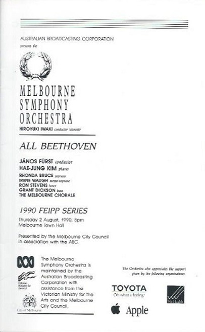 Melbourne Symphony Orchestra, Melbourne Town Hall Aug 1990 Janos Furst, Hae-Jung Kim, Rhonda Bruce, Irene Waugh, Ron Stevens, Grant Dickson, The Melbourne Chorale