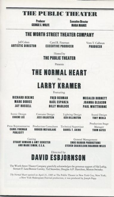 The Normal Heart (Play) Richard Bekins,Fred Berman,McCaleb Burnett -The Public Theatre Playbill/Program Date May 2004