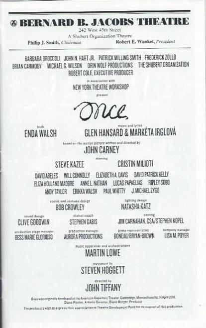 Once, Steve Kazee, Cristin Milioti, David Abeles, Will Connolly, Broadway Production - Playbill Oct 2012, Bernard B. Jacobs Theatre