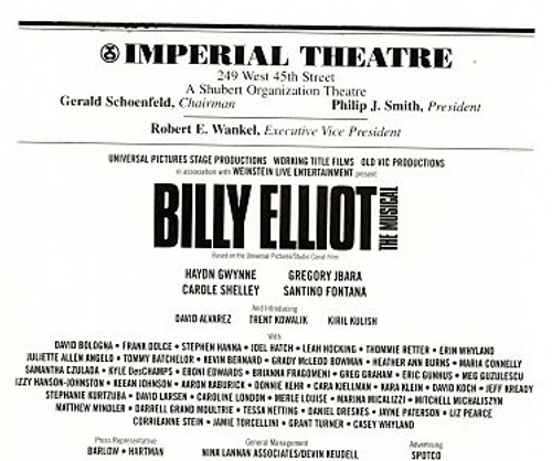 Billy Elliot  the Musical is a musical based on the 2000 film Billy Elliot. The music is by Sir Elton John, and book and lyrics are by Lee Hall, who wrote the film's screenplay.