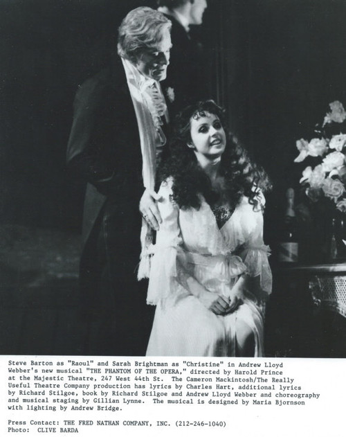 The Phantom of the Opera (Musical) Steve Barton, Sarah Brightman B&W Photo's - Majestic Theatre New York