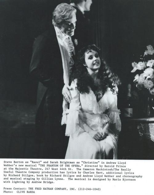 The Phantom of the Opera (Musical) Steve Barton, Sarah Brightman B&W Photo's - Majestic Theatre New York