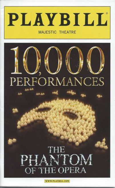 Phantom of the Opera (Oct 2012)  10,000 Performance Feb 11 2012 Playbill Hugh Panaro, Trista Moldovan, Kyle Barisich– Majestic Theatre