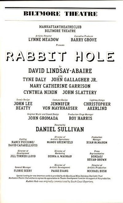 Rabbit Hole is a play written by David Lindsay-Abaire. It was originally commissioned by South Coast Repertory and first presented at its Pacific Playwrights Festival reading series in 2005.