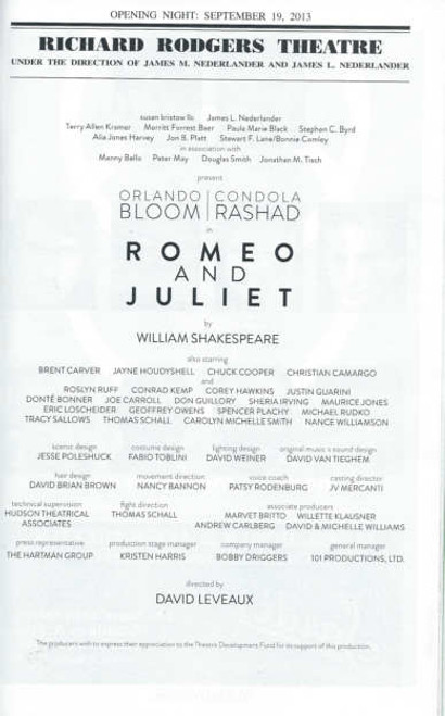 Romeo and Juliet - Playbill Broadway, Orlando Bloom - Condola Rashad Playbill September 2013, Directed by David Leveaux