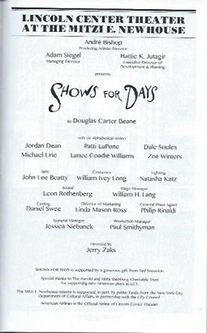 Shows for Days, Patti Lupone, Dale Soules, Michael Urie, Playbill, Program  July 2015, Jordan Dean, Patti Lupone, Dale Soules, Michael Urie, Lance Coadie, Zoe Winters