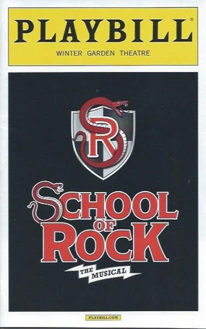 School of Rock, Playbill Dec 2015, Alex Brightman,  Sierra Boggess,  OBC playbill, school of rock playbill, Broadway playbills