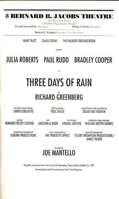 Three Days of Rain (Play), Julia Roberts, Paul Rudd, Bradley Cooper,Michael Dempsey, Bernard B Jacobs Theatre (Apr 2006)