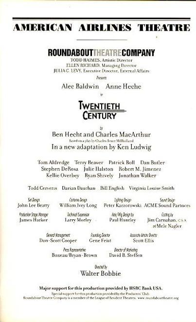 Twentieth Century (Play), Alec Baldwin, Anne Heche, Tom Aldredge - American Airlines Theatre. (Mar 2004)