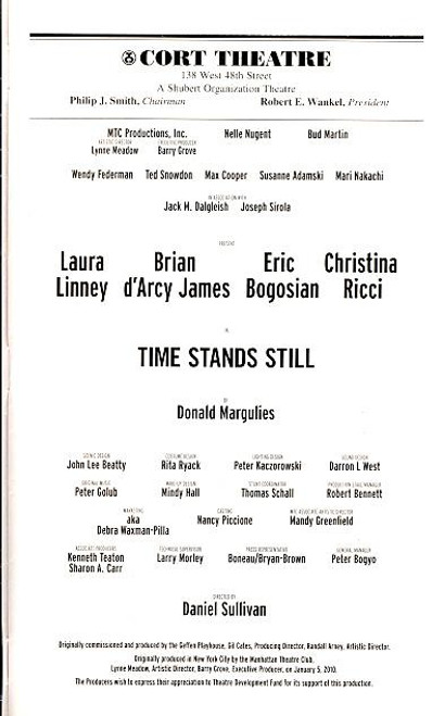 Time Stands Still (Play), Laura Linney, Brian d'Arcy James, Eric Bogosian, Christina Ricci,  Cort Theatre
