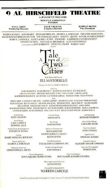 Tale of Two Cities, Musical, James Barbour, Craig Bennett, Brandi Burkhardt,  Al Hirschfeld Theatre