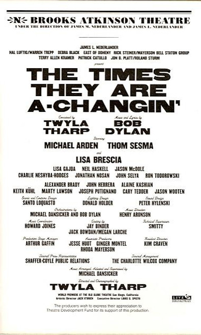 The Times They are a Changin (Musical/Dance),   John Selya, Michael Arden, Neil Haskell, Brooks Atkinson Theatre, Thom Sesma, Lisa Brescia