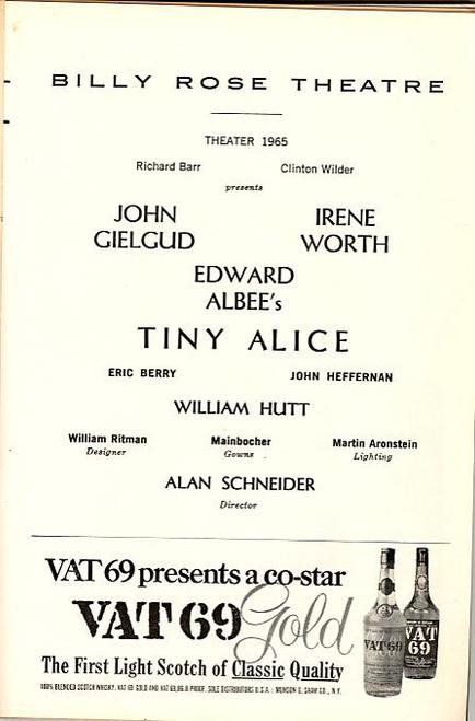 Tiny Alice (Play), John Gielgud, Irene Worth, Eric, John Heffernan, William Hutt (Feb 1965), Playbill