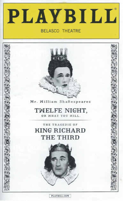 Twelfe Night & King Richard the Third Feb 2014, Twelfe Night & King Richard the third playbill, Mark Rylance, Stephen Fry, Tony Ward, Samuel Barnett, Liam Brennan, Paul Chahidi, John Paul Connolly, Peter Hamilton Dyer, Kurt Egyiawan, Matt Harrington, Colin Hurley, Terry McGinity, Jethro Skinner, Joseph Timms, Angus Wright, Dominic Brewer
